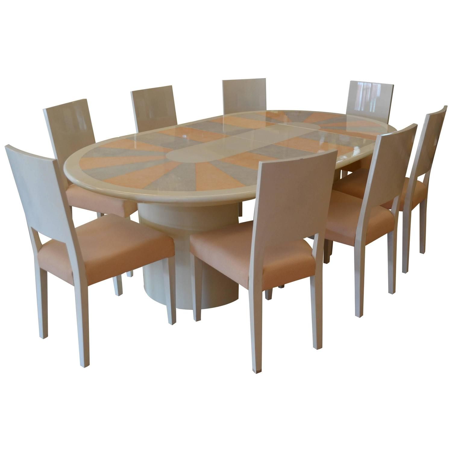 Karl Springer Knife Edge Dining Table And Eight Chairs